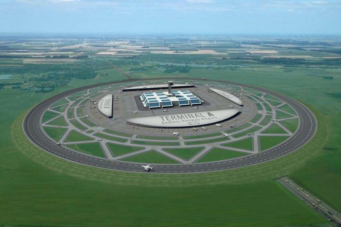 pista circular, toda infra-estrutura do aeroporto pode ser montada no interior do círculo (Crédito: Reprodução)