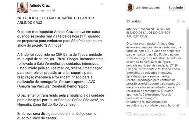 Post sobre a saúde de Arlindo no Instagram do artista