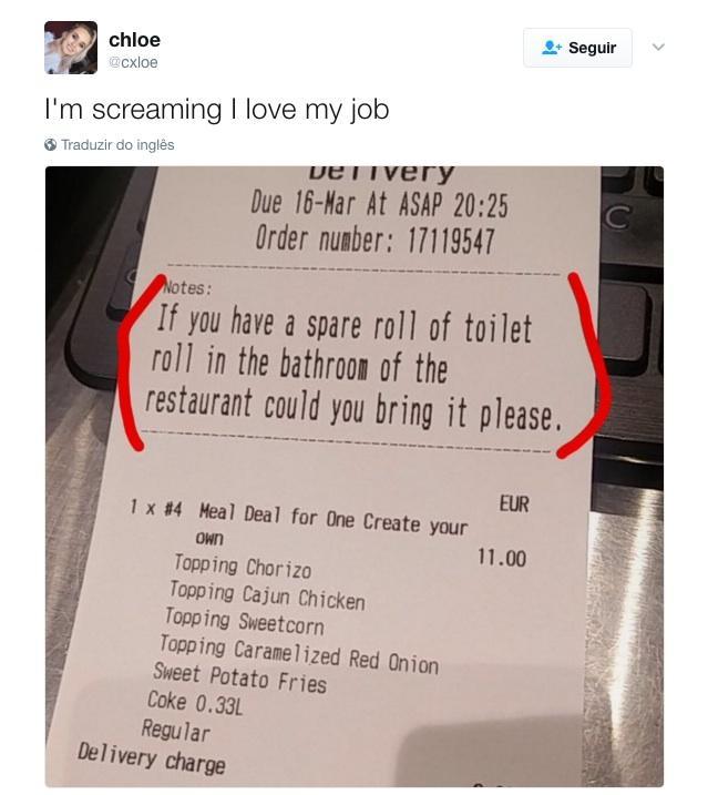 Cliente faz pedido inusitado em delivery de pizzaria
