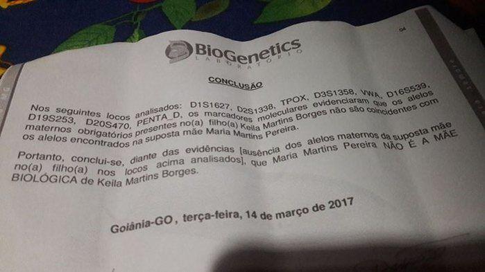 O exame de DNA de Keila e da mãe comprova que não há laços de sangue entre elas