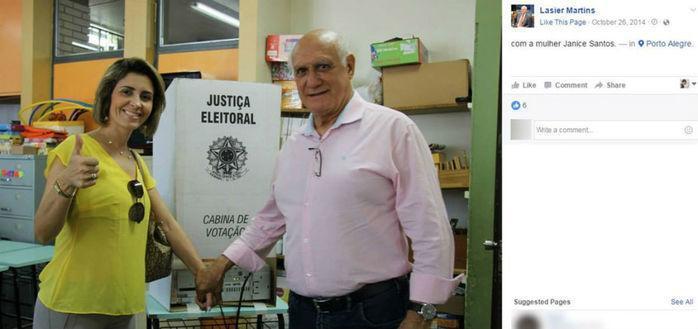 Janice Santos e Lasier Martins em dia de votação
