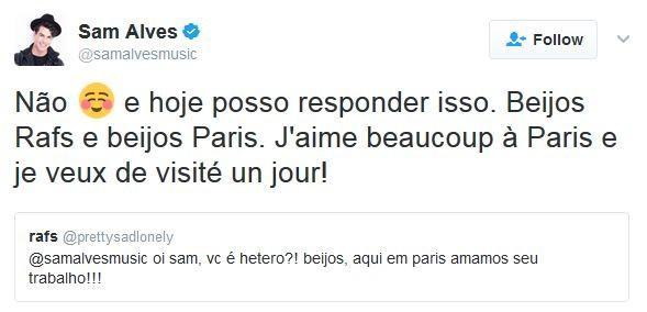 Sam Alves assume homossexualidade