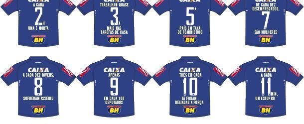 Camisa do Cruzeiro vai estampar campanha do Dia da Mulher