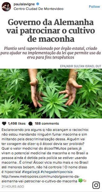 Esposa de Caetano Veloso fuma maconha e defende legalização