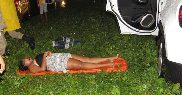Mulher ferida após acidente (Crédito: Blog do Pessoa)