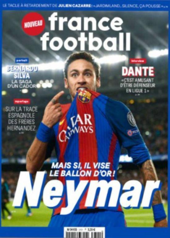 Neymar na capa da France Football (Crédito: Reprodução)