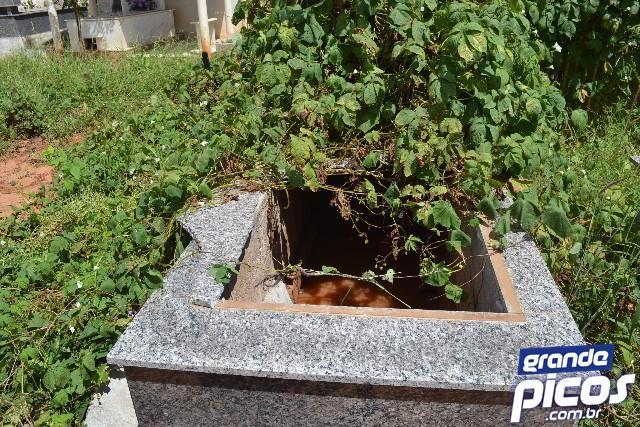 Vândalos depredam cemitério e deixam caixões à mostra em Picos
