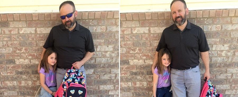 Pai usa calças molhadas ao buscar filha que fez xixi na roupa