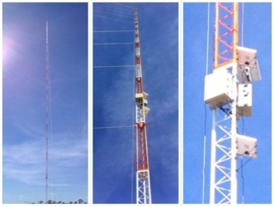 Torre de estudos para medição do vento, temperatura e umidade