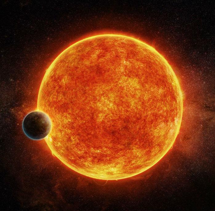 Ilustração mostra a estrela LHS 1140 e seu exoplaneta LHS 1140b (Crédito: Reprodução)