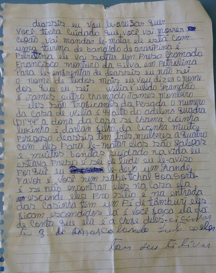 Carta contendo várias ameaças contra o comandante (Crédito: Divulgação)