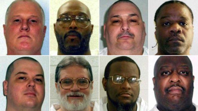 Os oito homens que o Arkansas pretendia executar em onze dias (Crédito: Reprodução)