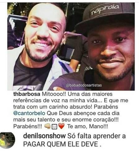 """Denilson cobra Belo em rede social: """"Só falta pagar quem ele deve"""""""