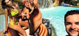 Empresário piauiense curte parque aquático com ex-BBB Vivian