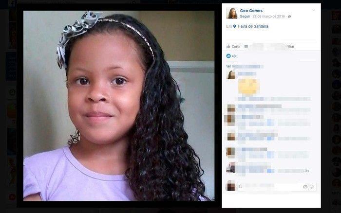 Gabrielly Gomes de 7 anos estava desaparecida há três meses na Bahia (Crédito: Reprodução)
