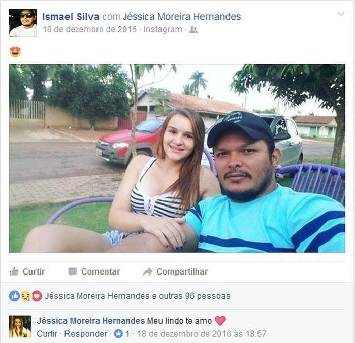 Em foto publicada por Ismael, Jéssica Moreira Hernandes, de 17 anos, se declara ao namorado (Crédito: Reprodução)