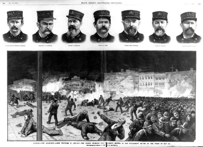 Jornal de 4 de maio de 1886 retrata a morte dos policiais nos protestos pelos direitos trabalhistas (Crédito: Reprodução)