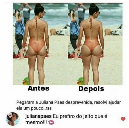 Juliana Paes não gostou do 'retoque' (Crédito: ')
