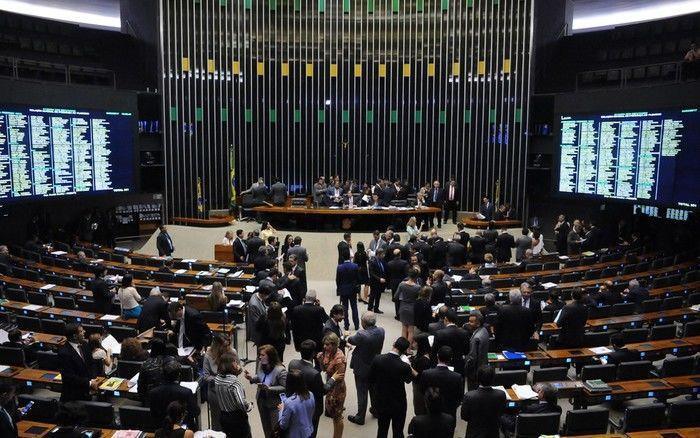O plenário da Câmara, durante a sessão desta terça