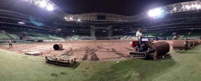 Após shows gramado do estádio do Palmeiras é recolocado