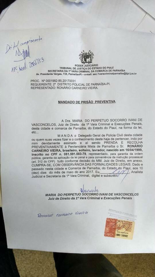 Mandado de prisão contra Ronário Carneiro Vieira (Crédito: Divulgação)