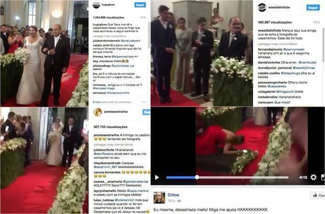 Convidada cai, arruína entrada triunfal de noiva e viraliza na web