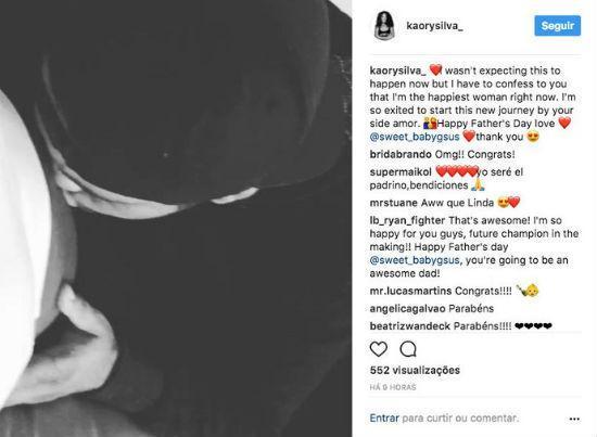 A mensagem de Kaory Silva no instagram, seguida de congratulações de fãs e amigos (Crédito: Reprodução)