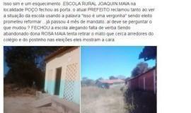 Comunidade denuncia fechamento e abandono de Escola Rural