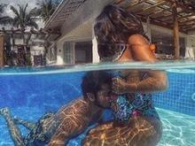 Gissoni celebra um mês da filha beijando barriga de Yanna Lavigne