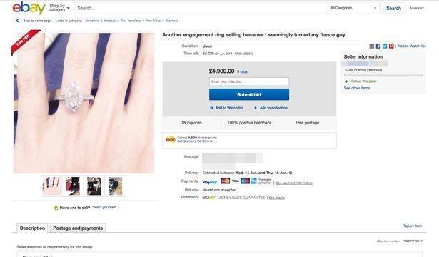 Mulher leiloa anel de noivado após descobrir que novo é gay