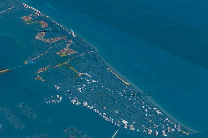 Vista de Miami em 2100, a partir do plug in criado pelo grupo Climate Central no Google Earth  (Crédito: Reprodução)