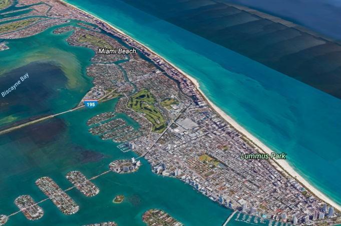 Vista de Miami, hoje, a partir do Google Earth (Crédito: Reprodução)