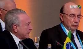 Meirelles dorme durante discurso de Temer na Cúpula do Mercosul