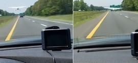 Motorista flagra pouso de emergência em estrada