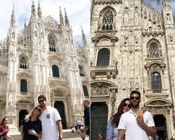 Claudia Leitte e Ivete visitam a mesma igreja com maridos em Milão