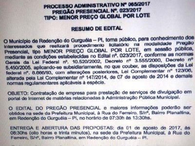 Prefeitura de Redenção vai contratar Portais de Internet
