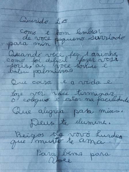 O jovem recebeu a carta ao ingressar na faculdade (Crédito: Reprodução)