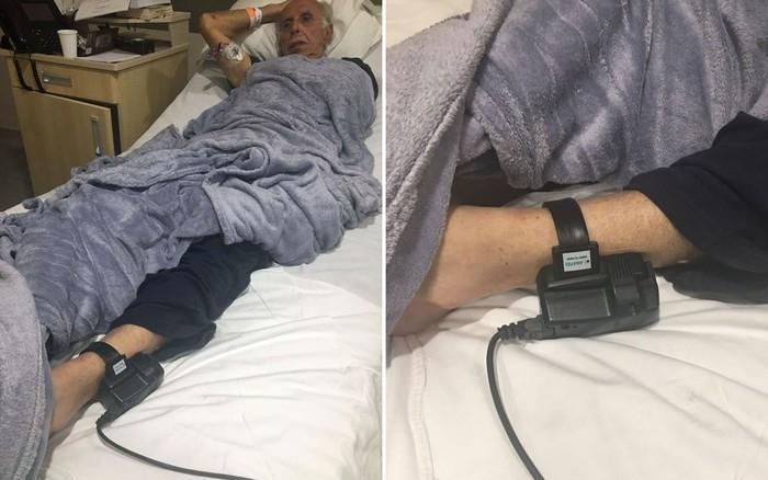 Fotos divulgadas pela defesa de Roger Abdelmassih mostra o ex-médico internado no Hospital Albert Einstein usando tornozeleira eletrônica  (Crédito:  Antonio Carlos Fraga/Arquivo pessoal)