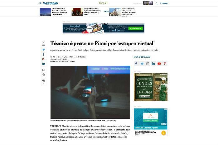 Setença por 'estupro virtual' no Piauí é destaque (Crédito: Reprodução)