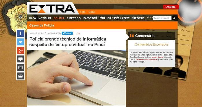Extra destaca sentença por 'estupro virtual' no Piauí (Crédito: Reprodução)