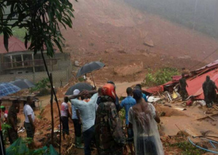 Deslizamento de terra em Serra Leoa (Crédito: Twitter/ANSA )