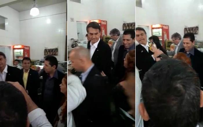 Momento da ovada em Jair Bolsonaro (Crédito: Reprodução)