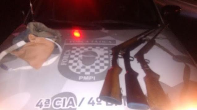 Armas apreendidas pela Força Tática de Fronteiras (Crédito: Divulgação/Polícia Militar)