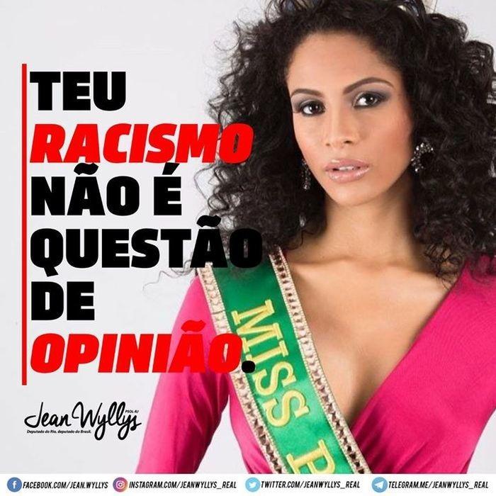 Jean Wyllyssaiu em defesa de Monalysa Alcâtara, nova Miss Brasil (Crédito: Facebook)