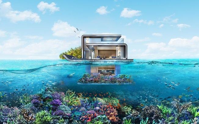 Cada casa flutuante tem três andares e aproximadamente 371 metros quadrados   (Crédito: Divulgação/The Heart of Europe  )