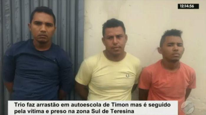 Assaltantes presos após arrastão em autoescola de Timon (Crédito: Rede Meio Norte)