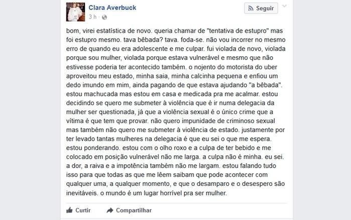 Clara Averbuck fez a denúncia no Facebook