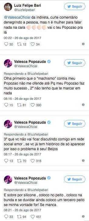Valesca Popozuda bate boca com ex-BBB em rede social (Crédito: Reprodução/Internet)