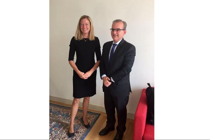 Firmino Filho e a vice-prefeita de Estocolmo (Crédito: Reprodução)