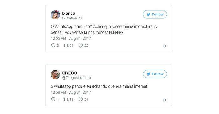 Usuários relatam instabilidade no WhatsApp (Crédito: Twitter)
